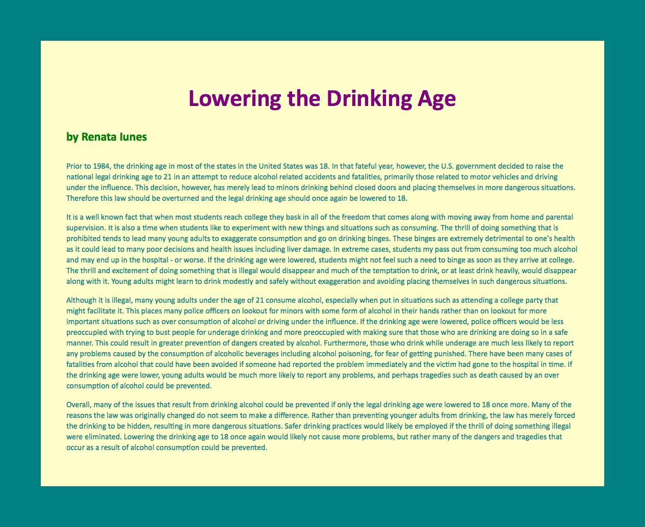 the debate over the legal drinking age in the united states Underage drinking and the drinking age which required states to have a minimum drinking age of among the 8 million college students in the united states.